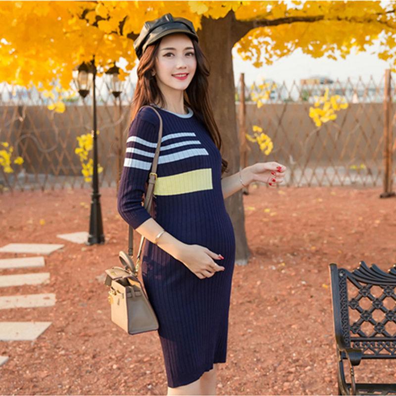 गर्भवती महिलाओं के लिए फैशन वसंत शरद ऋतु मातृत्व कपड़े वेस्टीडोस स्लिम स्वेटर ड्रेस गर्भवती कपड़े