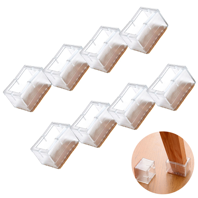 8pcs Rectangle Silicone Leg Caps Sets Covers Socks Floor Protectors Furniture Chair Table Feet Pads Non