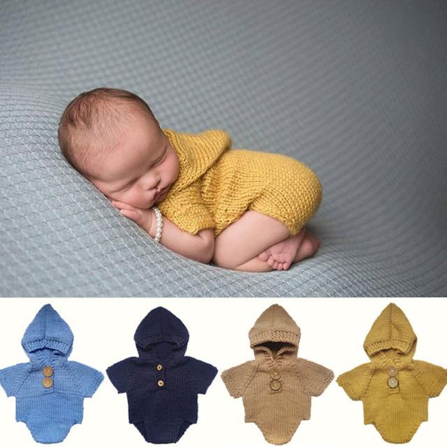 Bebê recém-nascido Foto Prop Outfit Fotografia Bebê Menino Romper Do Bebê Romper Com Capuz de Malha Roupas de Crochê Da Foto Do Bebê Props Traje Infantil