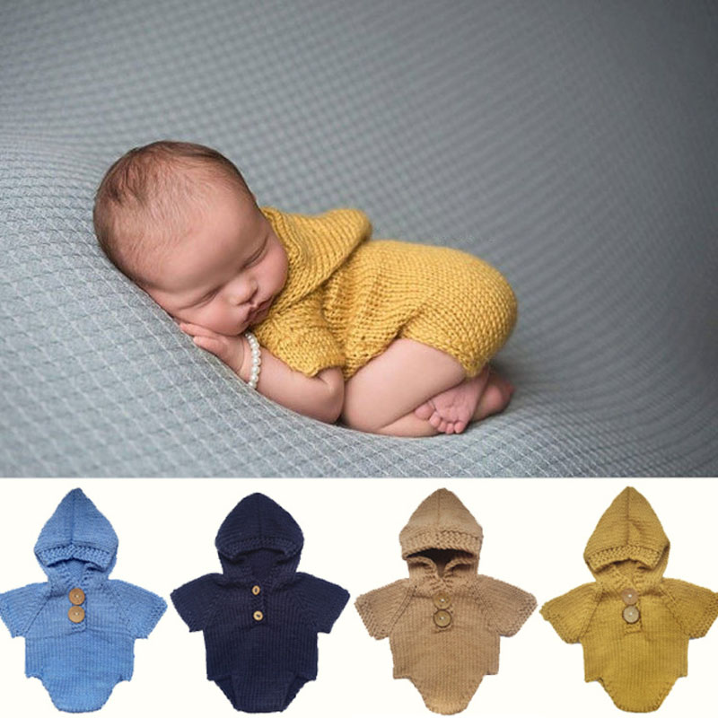 Newborn Photo Prop Hooded Romper Knitted Baby Outfit Photography Baby Boy Romper Crochet Clothes Baby PhotoProps Infant CostumeX