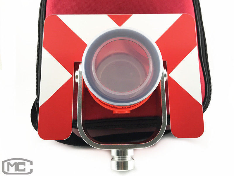 NEW RED SINGLE PRISM WITH SOFT BAG FOR TOTAL STATIONS