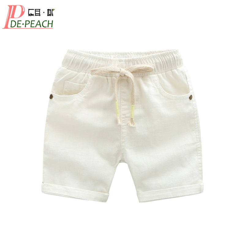 DE PEACH New Summer Baby Boys Loose Casual Shorts Pants Girls Kids Beach Shorts Children Clothing Boys Cotton Linen Pants 2-6Y jones new york women s linen blend pants 14wp green