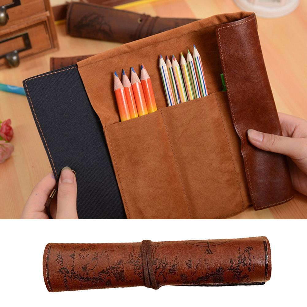 New Hot Vintage Treasure Map Roll Faux Leather Pen Pencil Stationery Storage Supplies