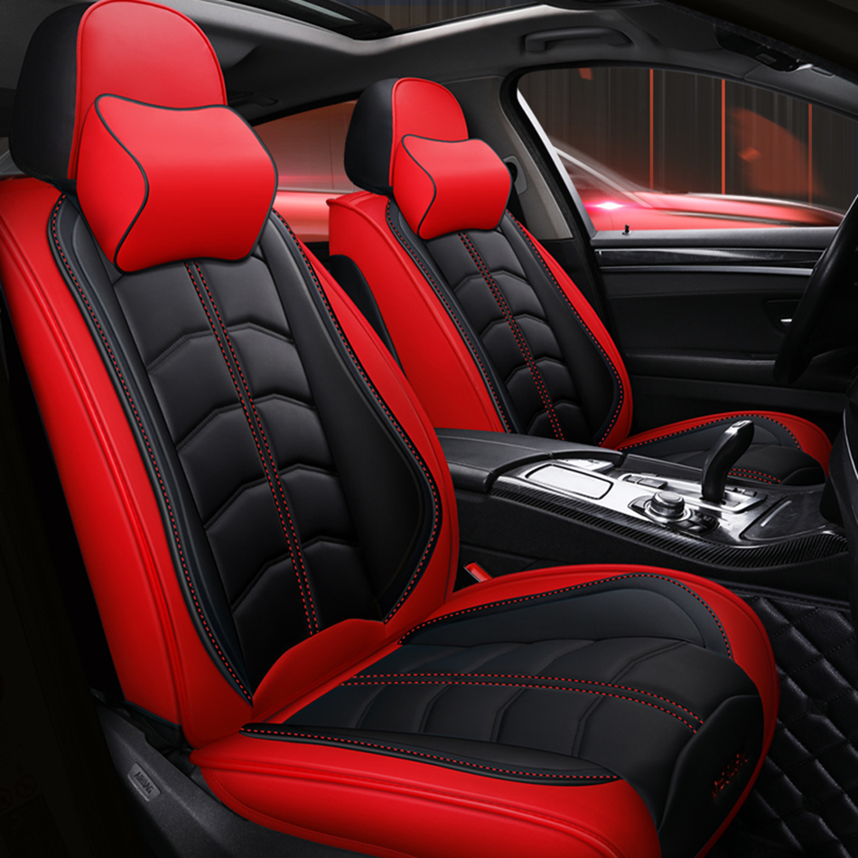 Car Seat Cover 5 Seat Front Rear Full Set Pu Leather Sponge Red