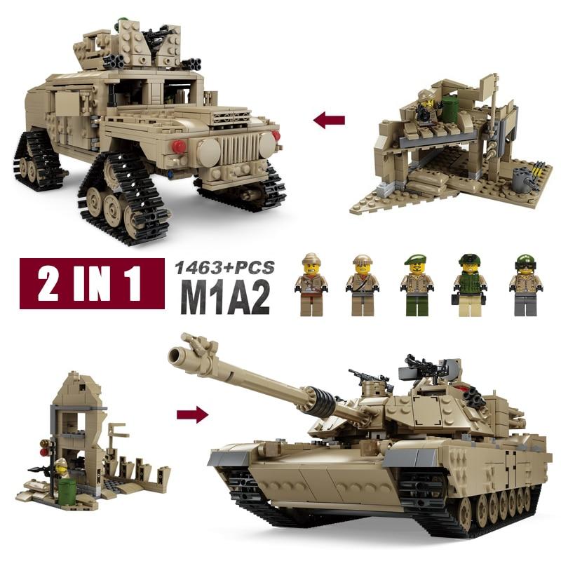 Kazi Toys Military Gun Weapon World War 2 Hummer ABRAMS Tank Model Building Blocks 2 in 1 Convertible Bricks 1:28 1463pcs+ 8 in 1 military ship building blocks toys for boys