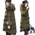 2017 New Winter Women Coat Warm Large Fur Collar Medium Long Fashion Fat MM Down Cotton Jacket Thick Hooded Down Coat SK150