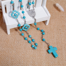 DoreenBeads 2017 New Women Bohemia Necklaces Y Shaped Gem Stone Prayer Rosary Beads Jesus Pattern Cross Pendant 57cm(China)
