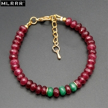 Vintage Classic Natural Stone Jewelry Handcrafted Simple Noble 4x6mm Rubies and Emeralds Beaded Strand Bracelets