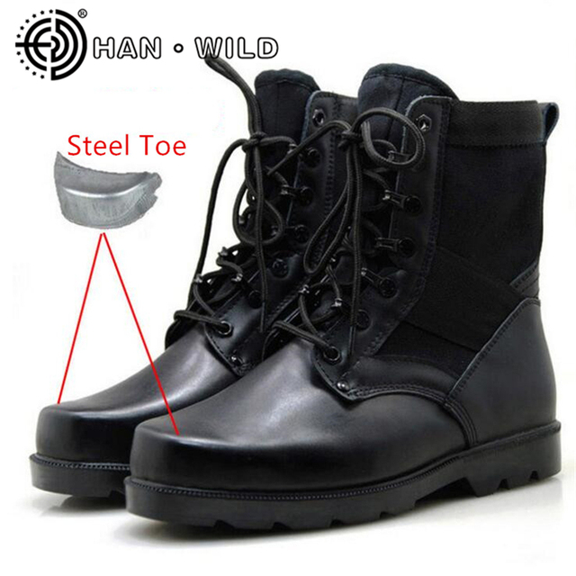 Men Military Army Boots Genuine Leather Steel Toe Men Tactical Boots Lace  Up Safety Shoes Desert Combat Ankle Boots Men 3a6ac0c51909