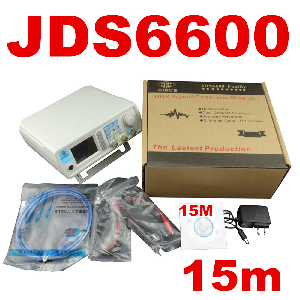 JDS6600 15MHZ Digital Control Arbitrary sine Dual-channel DDS Function Waveform Signal Generator frequency meter 47%off hantek dso4202c digital storage oscilloscope 2ch 200mhz 1 channel arbitrary function waveform generator factorydirectsales