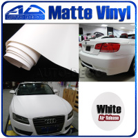 Fashion White Matte Vinyl Car Wrapping Sticker Film with air channel FedEx Free Shipping Size: 1.52*30m