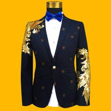 Blazer males formal gown newest coat pant designs swimsuit males costume homme terno sequin singer grasp of ceremonies fits for males's