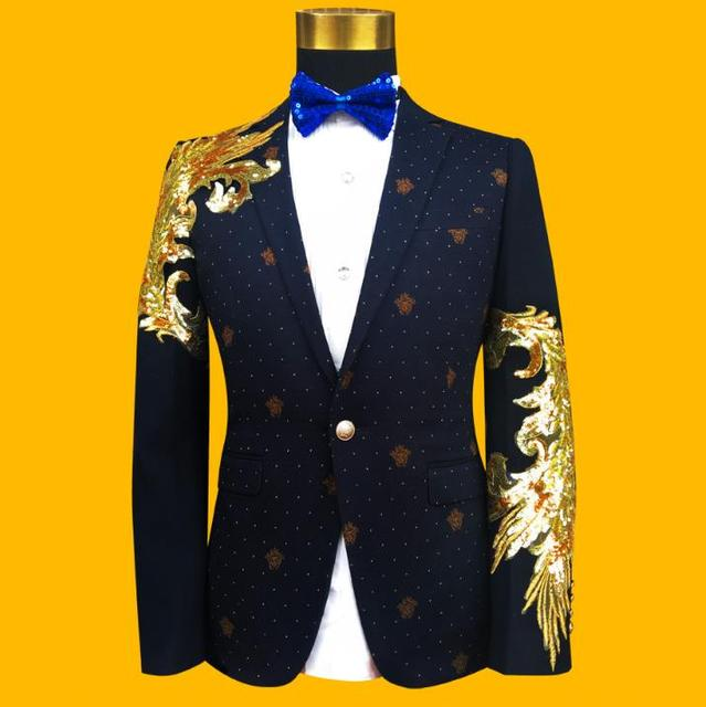 Blazer men formal dress latest coat pant designs suit men costume homme terno sequin singer master of ceremonies suits for men's