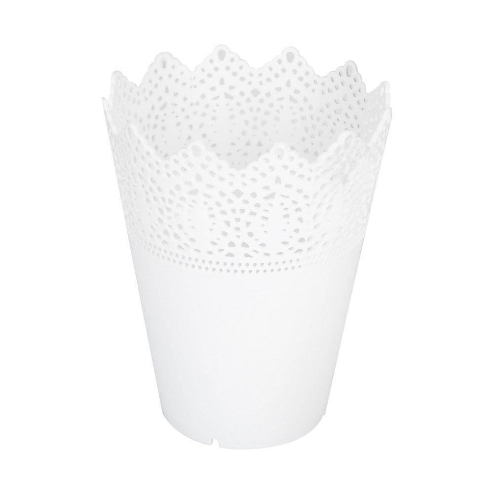 1 шт/10 шт пластиковое домашнее украшение для стола аккуратный держатель офисные цветочные горшки Экономичные для суккулентов кружевная ваза для цветов цветочный горшок ваза - Цвет: white