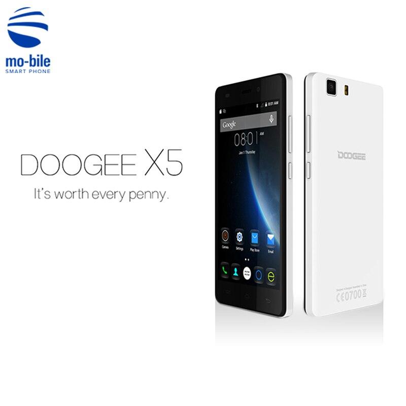 Цена за Original Doogee X5 MTK6580 Quad Core Dual SIM Смартфон 5 дюймов 1280*720 8MP Мобильного Телефона 1 Г RAM 8 Г ROM 3 Г Android 5.1 Мобильный телефон