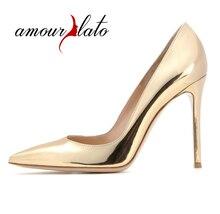 Amourplato Women's Ladies Fashion Elegant 100mm PointyToe Basic Office Party Prom High Heel Pumps Patent Dress Shoes
