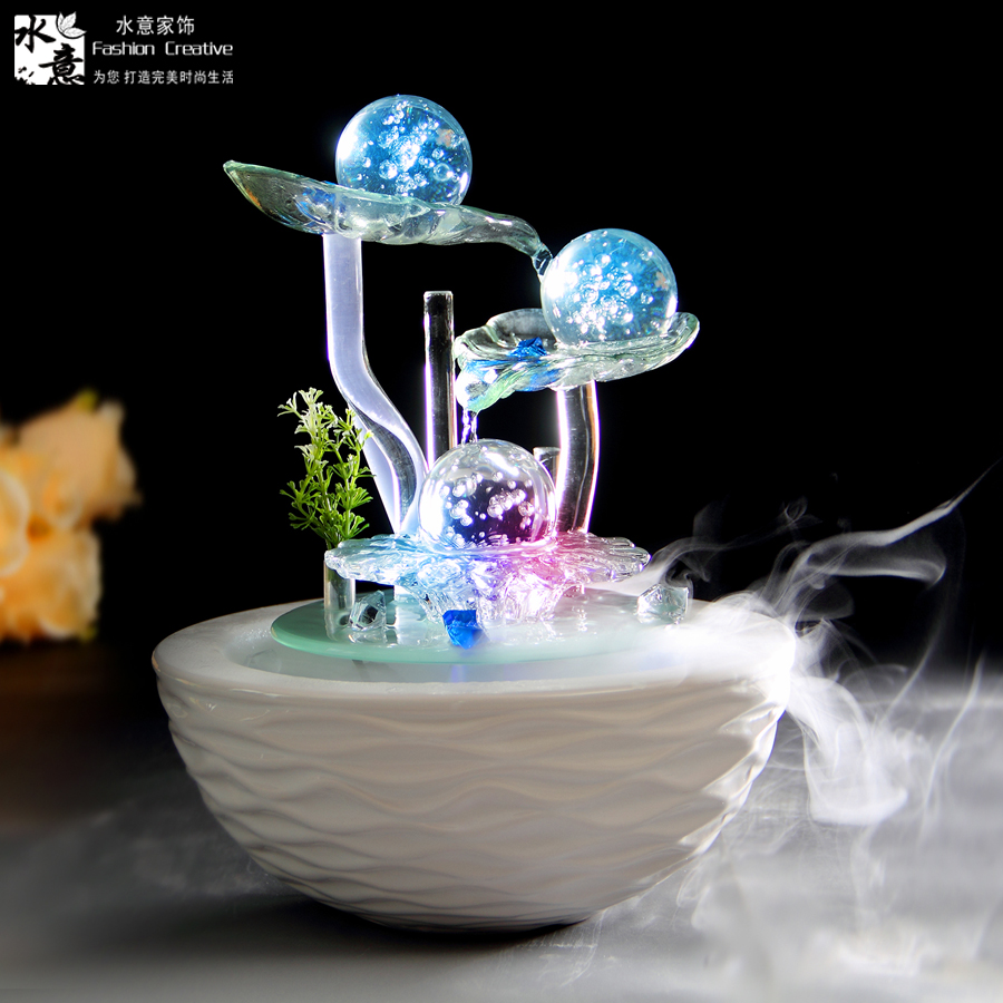 Fish supplies water fountain decoration crafts home decor for Glass home decor