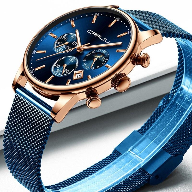 Saatler'ten Kuvars Saatler'de Relogio Masculino CRRJU Lüks quartz saat Erkekler için Mavi kadranlı saatler Spor Saatler Chronograph Saat Örgü Kemer kol saati'da  Grup 2