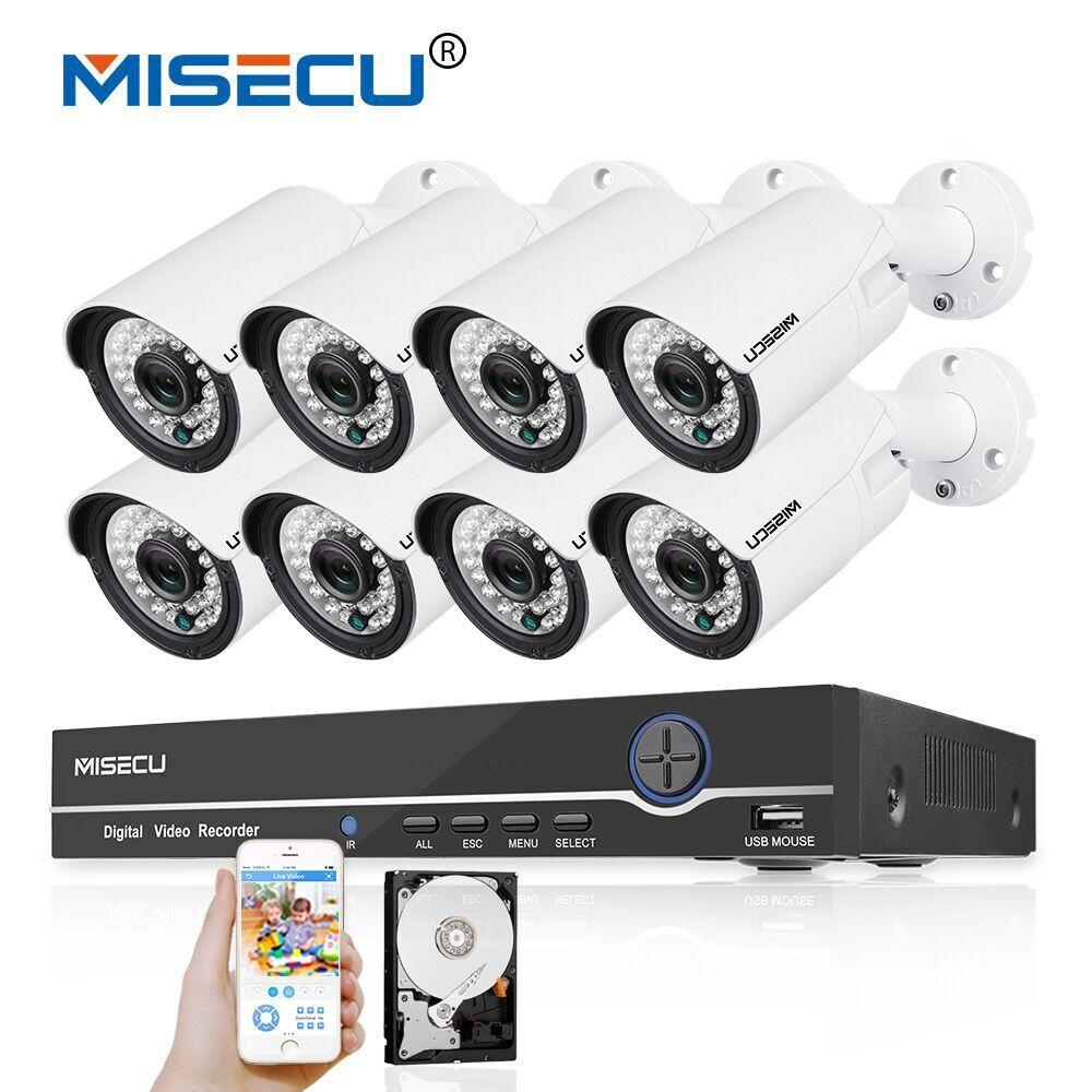MISECU 48V 8CH 1080P POE NVR 2 0mp 48V PoE 1080P Camera P2P HDMI Metal Onvif