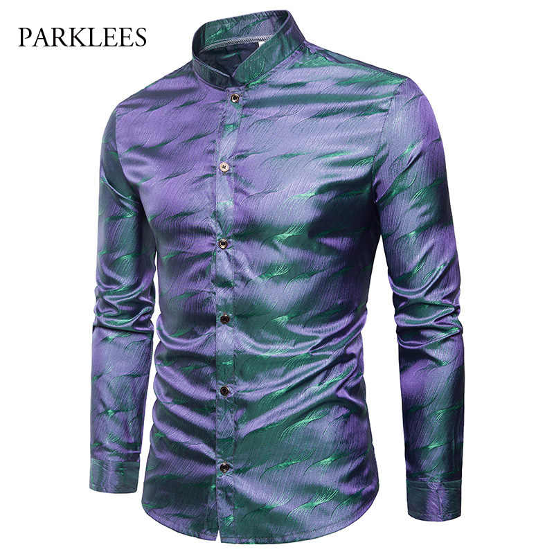 Shiny Silk Satin Shirt Men Glitter Smooth Water Ripple Print Shirts Men Dress Nightclub Disco Party Stage Shirt Chemise Homme