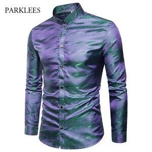 Image 3 - Camisa de cetim de seda brilhante dos homens glitter suave ondinha de água impressão camisas vestido masculino discoteca festa de discoteca palco camisa chemise homme