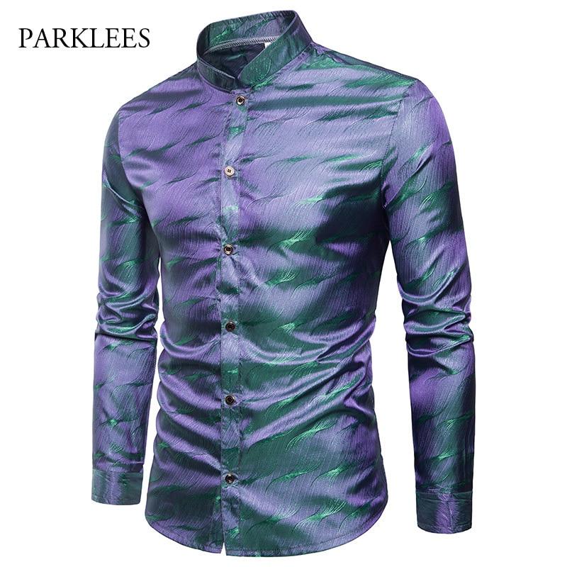 Shiny Silk Satin Shirt Men Glitter Smooth Water Ripple Print Shirts Men Dress Nightclub Disco Party Stage Shirt Chemise Homme