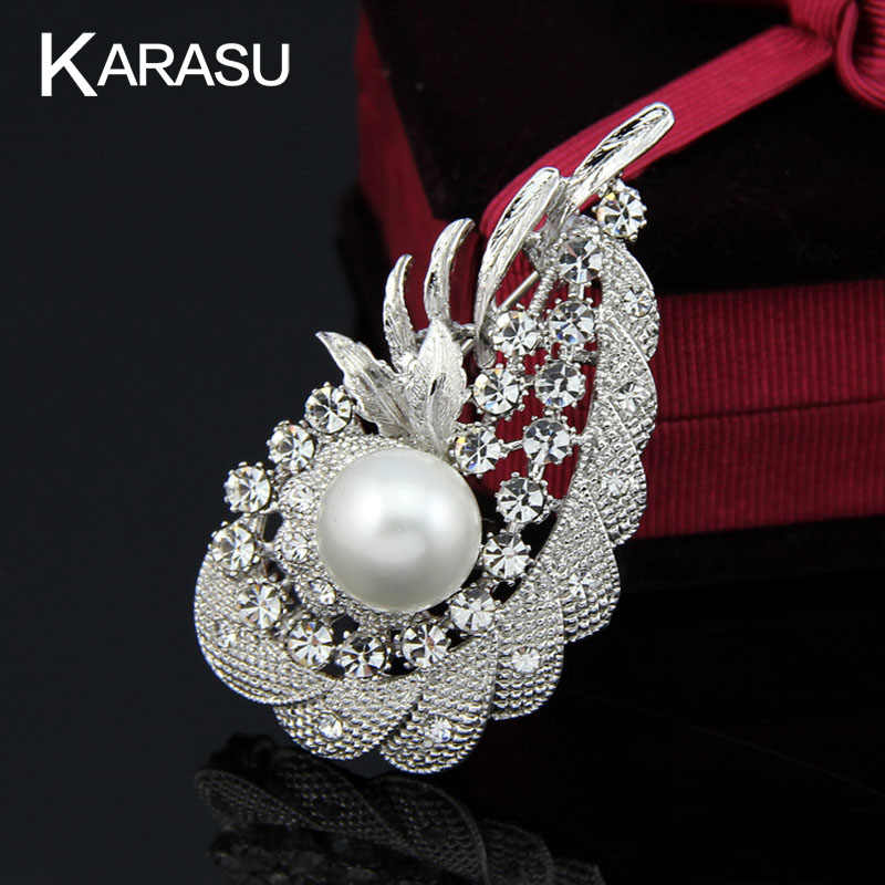 Water Dropping Big Simulated Pearl Flower Rhinestone Silver-color Brooches for Women Brooch Pins Jewelry