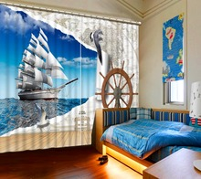Decorative door curtain custom hd ferry scenery 3d photo curtain for living room beroom children curtains