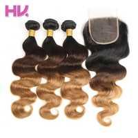 Hair Villa Ombre Brazilian Body Wave Hair Bundles With Closure 1b 4 27 4 4 Remy