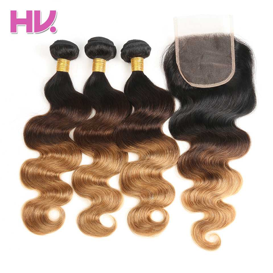 Hair Villa Ombre Brazilian Body Wave Hair Bundles With Closure #1b/4/27 4*4 Remy Ombre Human Hair with Lace Closure for Salon