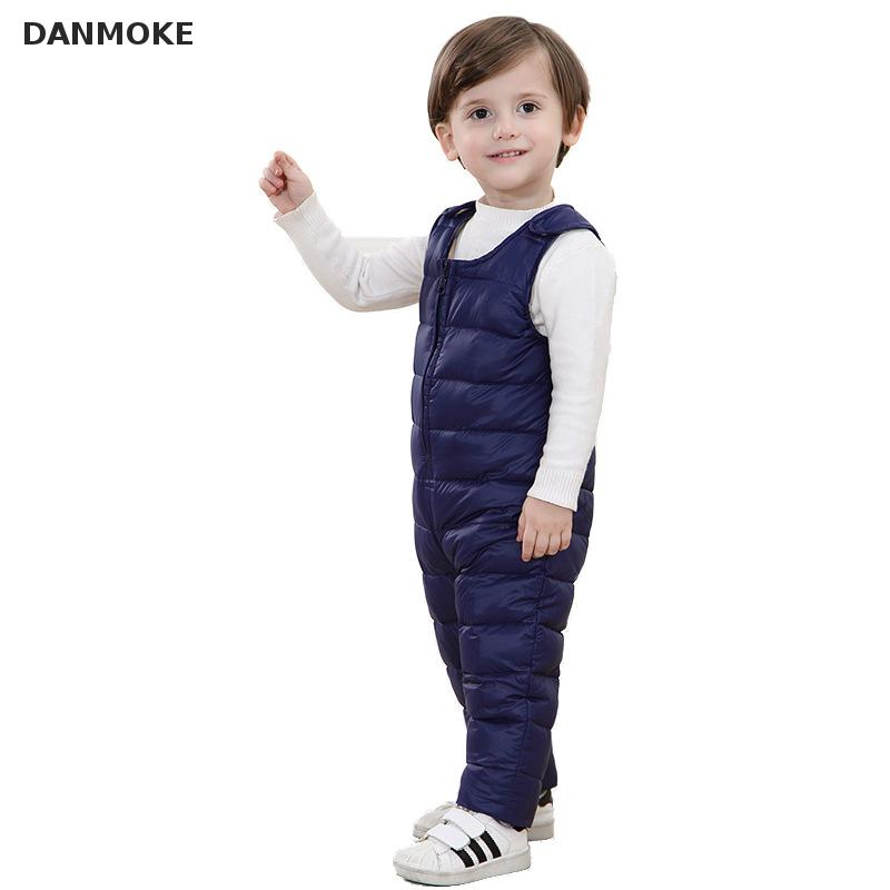 Warm sleeveless baby romper down toddler overalls snowsuit kids bib pants children coveralls boys girls Suspender Trousers