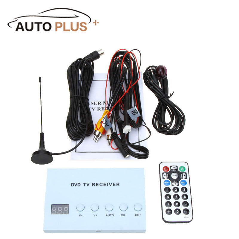Mini Design Digital Car TV Tuner Receiver DVD Monitor Analog Box TV Tuner Strong Signal Box with Antenna AV audio/video output цены онлайн