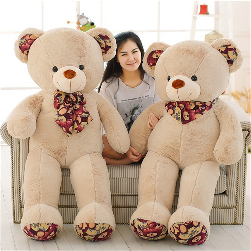 Fancytrader Giant Teddy Bear with Bow Soft Stuffed White Brown Plush Bears Toy 51inch Best Xmas Birthday Gifts fancytrader big giant plush bear 160cm soft cotton stuffed teddy bears toys best gifts for children