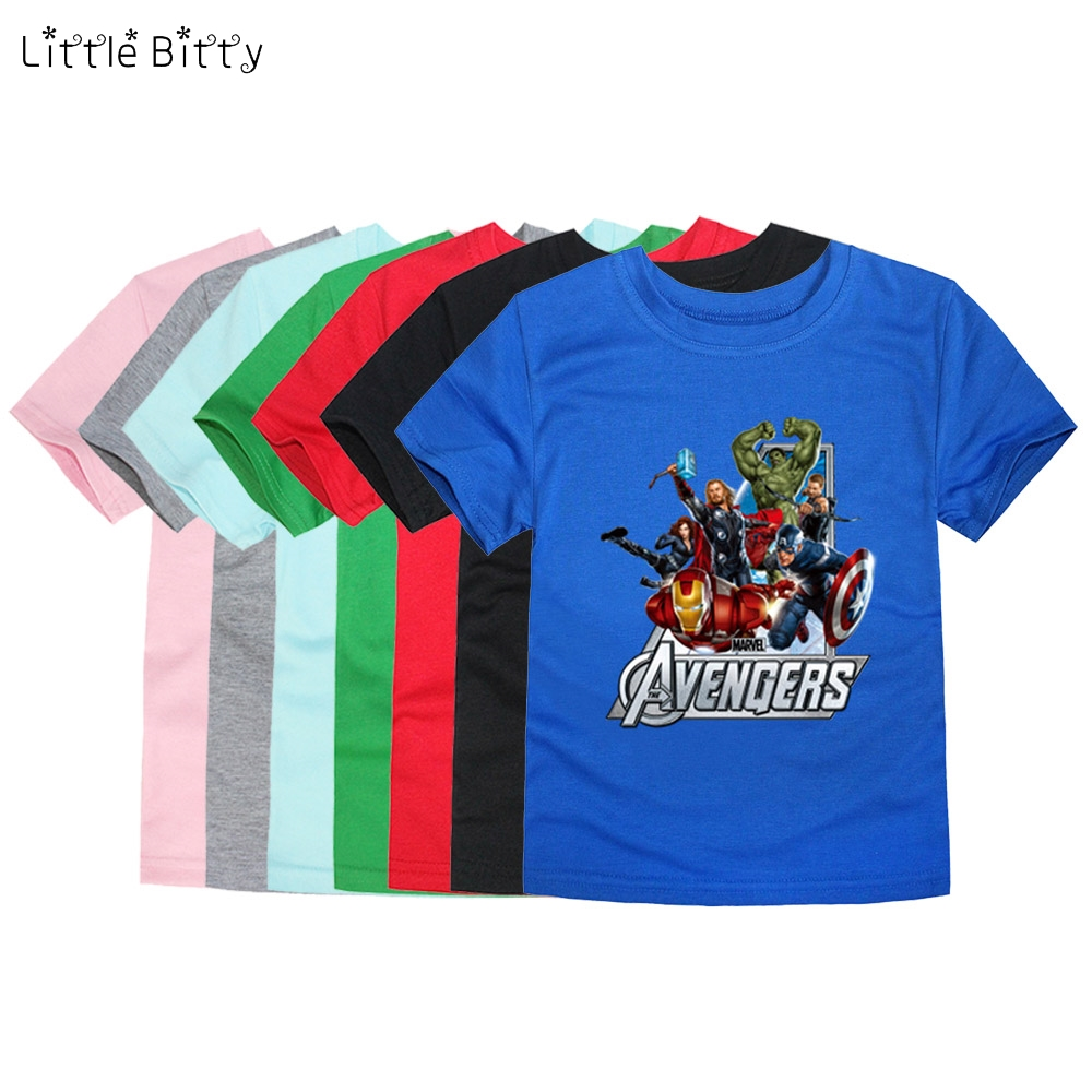 Little Bitty 2019 Boys Tees T Shirt Child Movie Short Sleeve Clothes Kids Avengers T-Shirt Baby Girls Children T Shirts 1-14year(China)