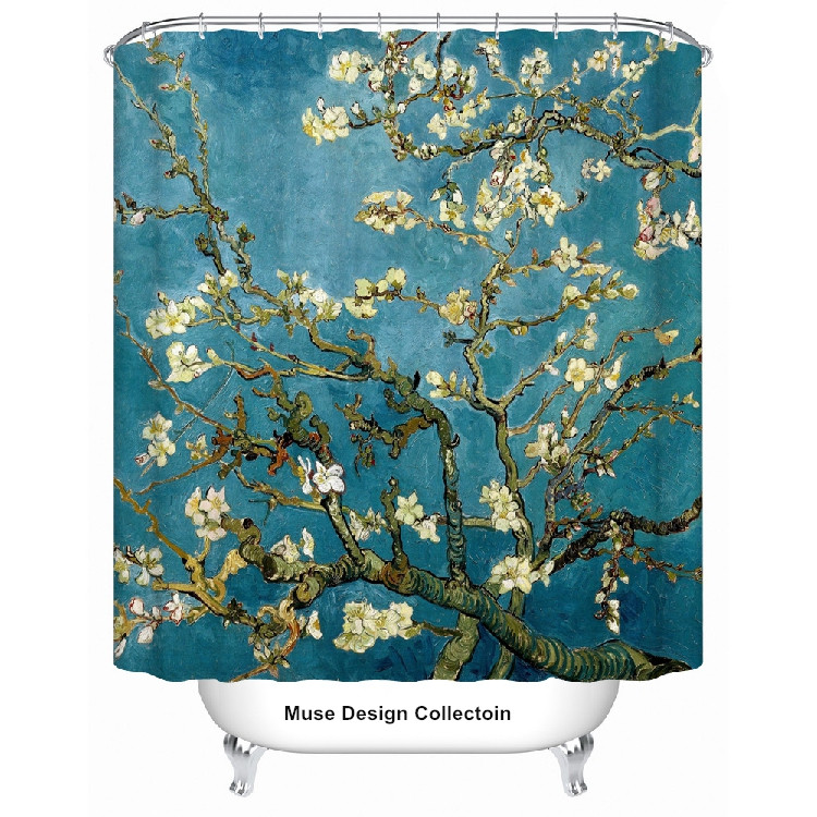 New Van Gogh Apricot Flower Blue Shower Curtain Bath Screen Size 180x180 Cm Free Shipping In