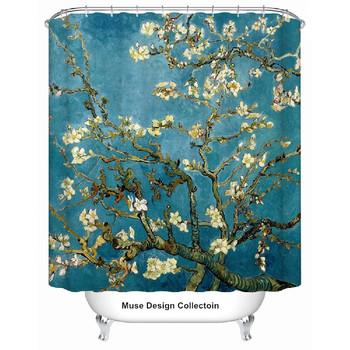 Nowy Van Gogh kwiat moreli niebieski zasłona prysznicowa zasłonka do kąpieli rozmiar 180 #215 180 cm darmowa wysyłka tanie i dobre opinie MD-SC01 Składane Bezramowe 6 mm
