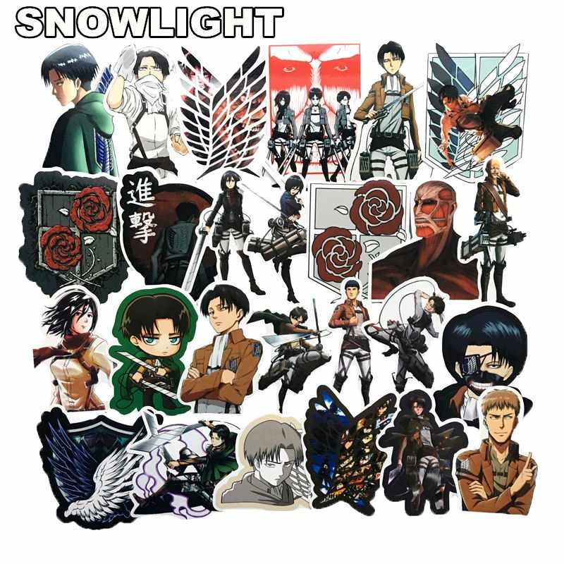 42Pcs/lot Japanese Anime Attack on titan Mikasa Levi Eren Stickers For Phone Luggage Laptop Bicycle Decal Toy Sticker for kids