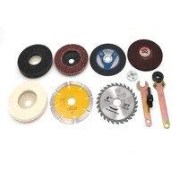 10 pçs conversão acessórios da haste chave inglesa broca de corte de metal polimento almofada de moagem de mármore lâmina de serra para broca elétrica