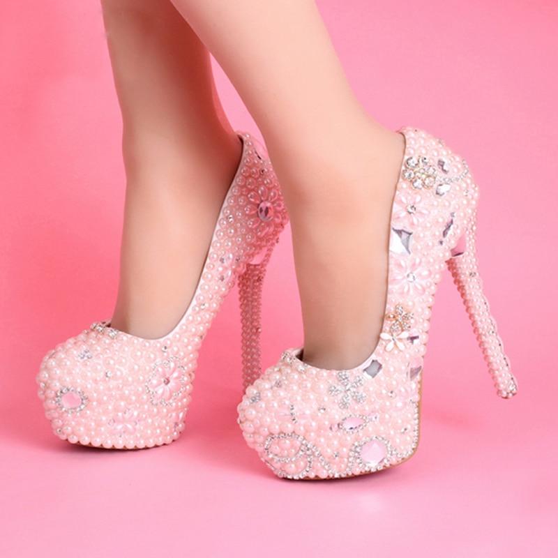 Women pumps pink wedding dress shoes handmade platforms for Heels for wedding dress
