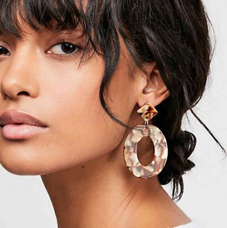 2019 New Fashion ZA Jewelry Acrylic Resin Oval Dangle Earrings For Women Geometry Big Tortoiseshell Earrings Acetate Brincos