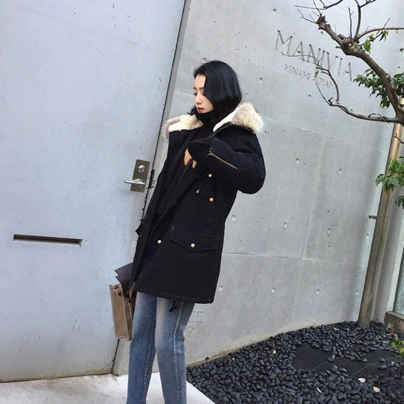 Black Col De Coton D'hiver Longue Fourrure Femmes Décontracté Vestes Outwear Grande Mode Parka Taille Chaud 4xl Automne wTq41qag