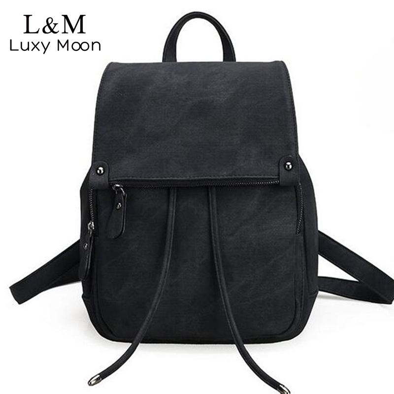 Vintage Women Backpack Large Black Drawstring Backpacks For Teenage Girls Shoulder Bag PU Leather School Bags mochila New XA839H korean women backpacks travel package black soft pu leather shoulder bag schoolbags for teenage girls female leisure bag mochila