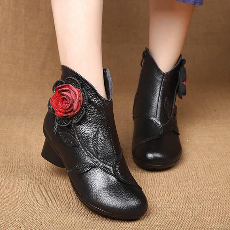 Xiuteng Batı Cowgirl çizmeler kadın ayakkabıları Hakiki Deri yarım çizmeler Kadınlar Için Çiçek Fermuar Tıknaz Blok Topuklu Patik