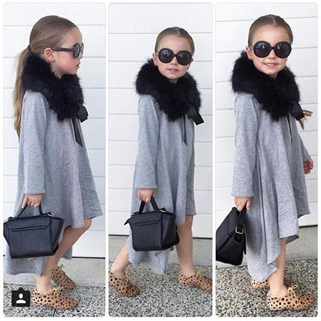 ae50f8cb86c0 2018 Baby Girl Dress Black Gray Kids Clothes Party Costume For Girl ...