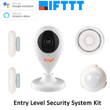 Tuya Smart Life HD IP Camera Door PIR Sensor Siren Wireless WiFi APP Remote Control Home Alarm Systems Video Kit