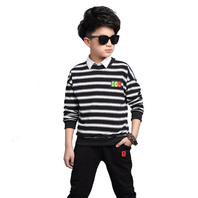 Baby Boys Clothing Sets Autumn Kids Sports Striped Suit 10 14 Years Girls Clothes Set For Child Teenage Children Long Sleeve