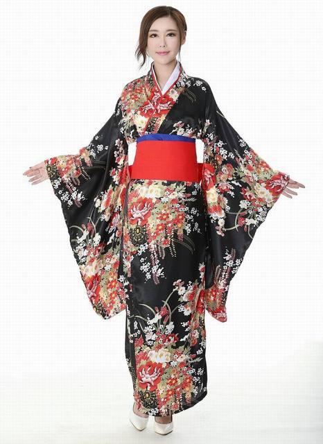 Japanese Kimono Traditional Girl Geisha Cosplay Hell Girls Enma Ai Womens Females Cherry Suits