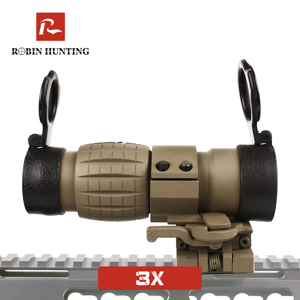 3X Tratical Tan Color Magnifier Optical Sight Red Dot Sight Rifle Scope For Outdoor Sight With