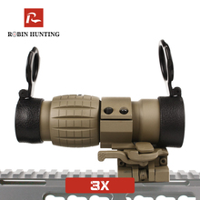 3X Tratical Tan Color Magnifier Optical Sight Red Dot Sight Rifle Scope For Outdoor Sight With Side Flip Picatinny Rail Mount