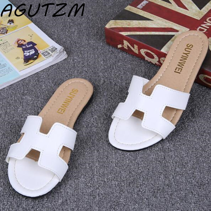 AGUTZM New Summer Slipper Women Slippers Slides Women Sandals Slippers Word Hollow out Women Single Sandals Non-slip Fashion fashionable women s sandals with platform and hollow out design